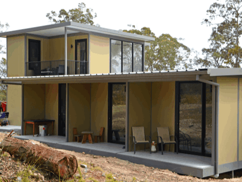 A double storey MAAP house with private decks shows the versatility and adptability of a hybrid modular system